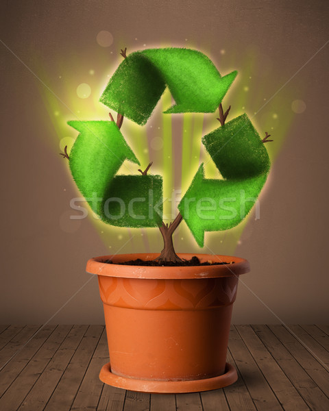 Recycle sign growing out of flowerpot Stock photo © ra2studio