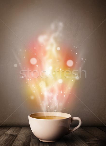 Koffiemok abstract stoom kleurrijk lichten Stockfoto © ra2studio