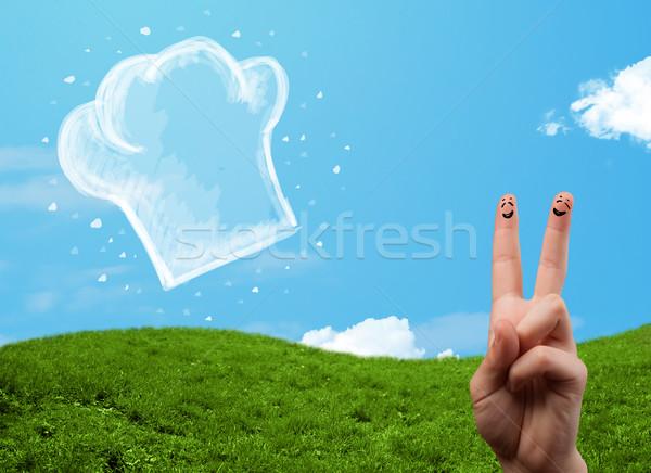 Feliz cara sonriente dedos mirando ilustración cocinar Foto stock © ra2studio