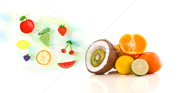 Colorful fruits with hand drawn illustrated fruits  Stock photo © ra2studio