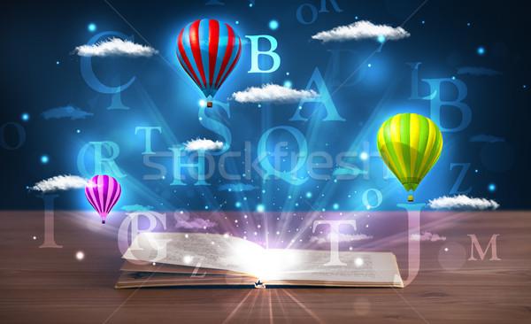 Stok fotoğraf: Açık · kitap · fantezi · soyut · bulutlar · balonlar