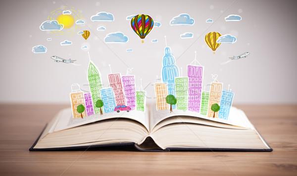 Városkép rajz nyitott könyv színes égbolt papír Stock fotó © ra2studio