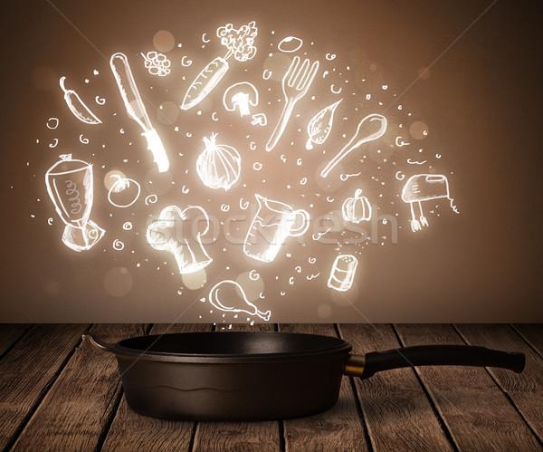 Foto stock: Cozinhar · ícones · fora · panela · brilhante · saúde