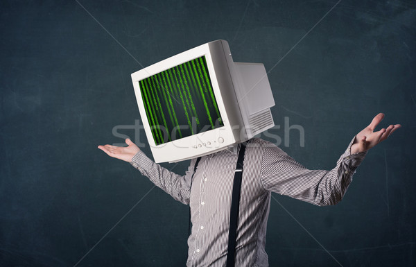 Cyber human with a monitor screen and computer code on the displ Stock photo © ra2studio