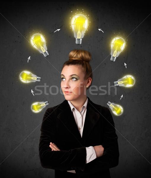 мышления лампочка вокруг голову Сток-фото © ra2studio