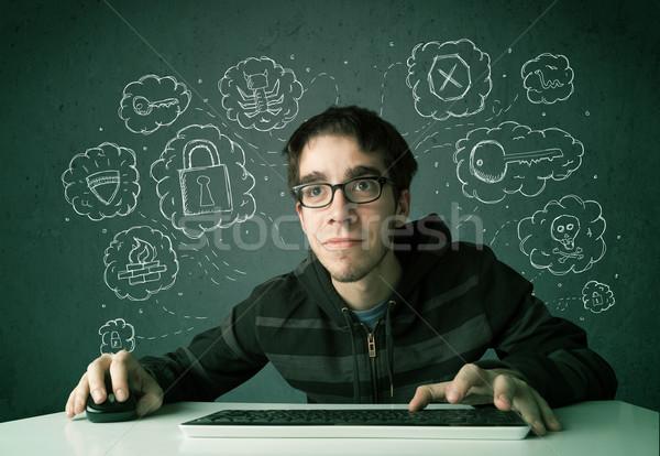 молодые NERD хакер вирус Сток-фото © ra2studio