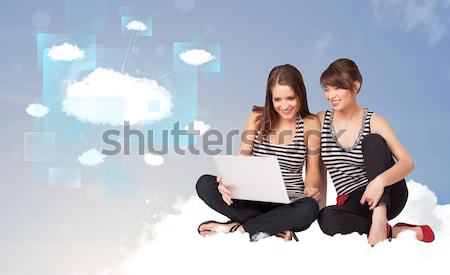 Young girls sitting on cloud and thinking of abstract speech bub Stock photo © ra2studio