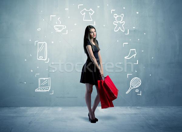 торговых женщины мешки иконки красивой Сток-фото © ra2studio
