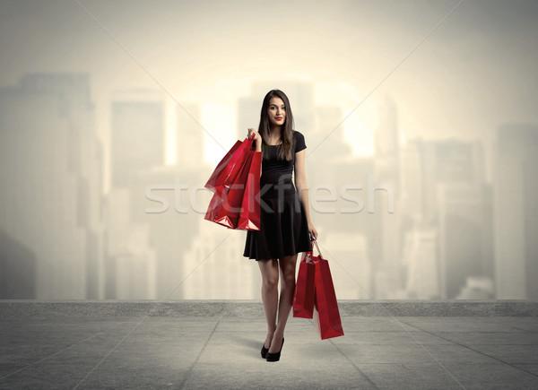 элегантный город девушки красный Сток-фото © ra2studio