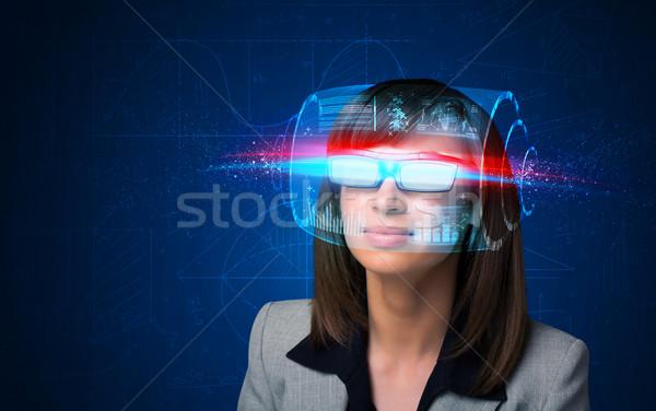 Zdjęcia stock: Kobieta · wysoki · tech · smart · okulary · ekranu