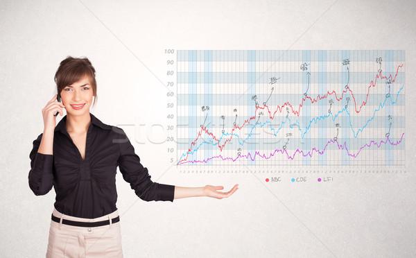 小さな ビジネス女性 株式市場 図 分析 ストックフォト © ra2studio