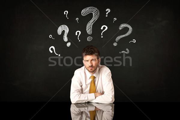 Sesión empresario signos de interrogación deprimido negocios hombre Foto stock © ra2studio