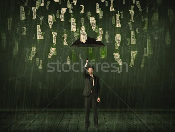 Affaires permanent parapluie dollar Bill pluie Photo stock © ra2studio