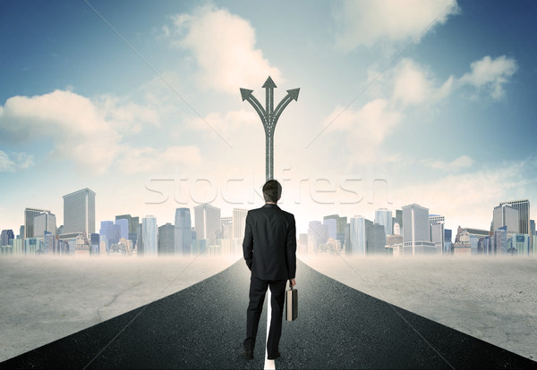 businessman standing on the road Stock photo © ra2studio