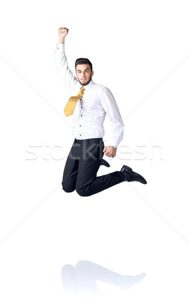 Opknoping zakenman geïsoleerd witte hand ruimte Stockfoto © ra2studio