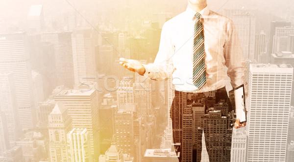 Homem de negócios olhando cidade quente negócio escritório Foto stock © ra2studio