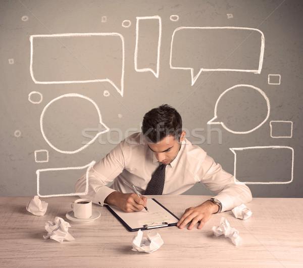 Meşgul ofis çalışanı metin kabarcıklar akıllı Stok fotoğraf © ra2studio