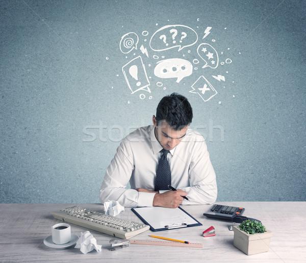 Zweifel verwechselt Büroangestellte Problem Stock foto © ra2studio