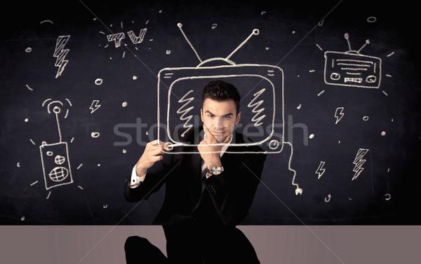 счастливым бизнесмен рисунок телевизор радио элегантный Сток-фото © ra2studio