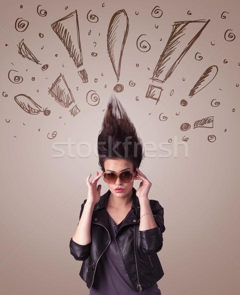 Genç kadın işaretleri saç sağlık Stok fotoğraf © ra2studio