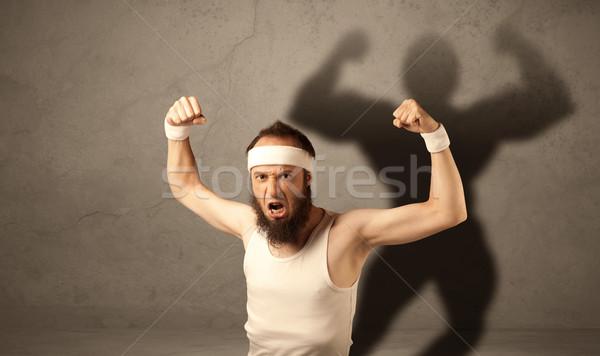тощий человека тень смешные молодые парень Сток-фото © ra2studio