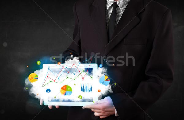 Persona touchpad nube tecnología gráficos Foto stock © ra2studio