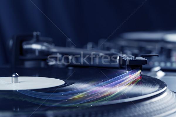 Музыкальный плеер играет виниловых музыку аннотация Сток-фото © ra2studio