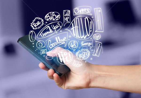 Stock fotó: Kéz · tart · telefon · kézzel · rajzolt · szövegbuborékok · technológia