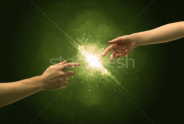 触れる 腕 照明 スパーク 指先 2 ストックフォト © ra2studio