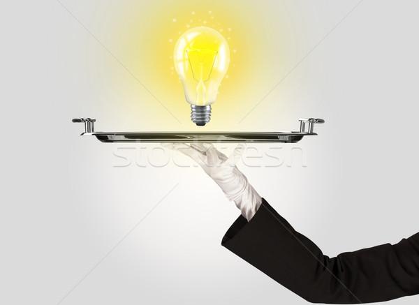 Knap idee lamp dienblad heldere Stockfoto © ra2studio