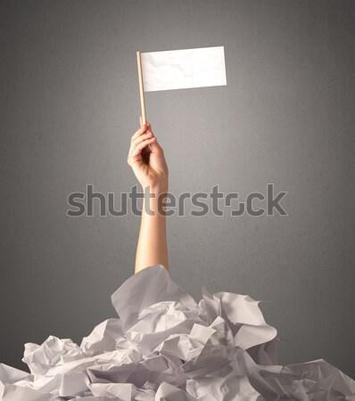 Female hand holding white sign Stock photo © ra2studio