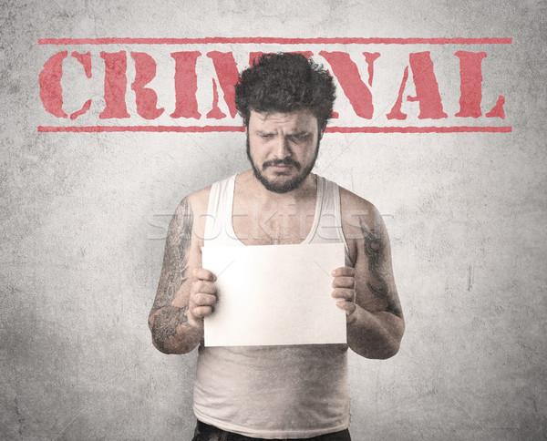 Gangster gevangenis crimineel politie portret witte Stockfoto © ra2studio