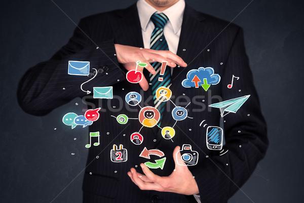 ビジネスマン カラフル アプリケーション ソーシャルメディア アイコン ストックフォト © ra2studio