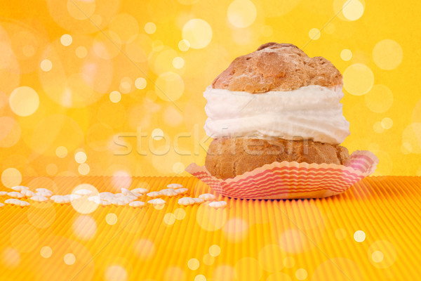 Delicious tasty homemade cakes with bokeh light background Stock photo © ra2studio