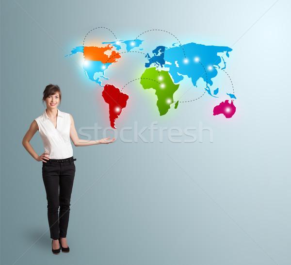 Colorido mapa del mundo hermosa mujer Foto stock © ra2studio