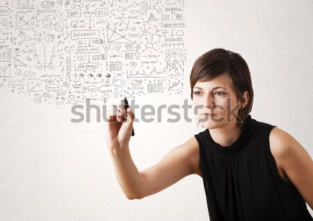 pretty woman gesturing with copy space Stock photo © ra2studio
