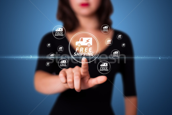 Businesswoman pressing promotion and shipping type of modern buttons Stock photo © ra2studio