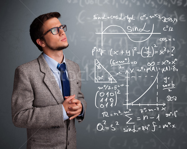 Bonito pensando complexo matemático sinais Foto stock © ra2studio