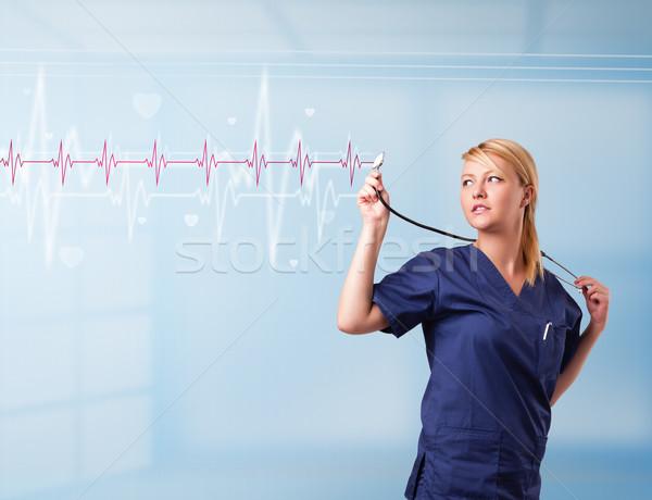 довольно медицинской прослушивании красный импульс сердце Сток-фото © ra2studio