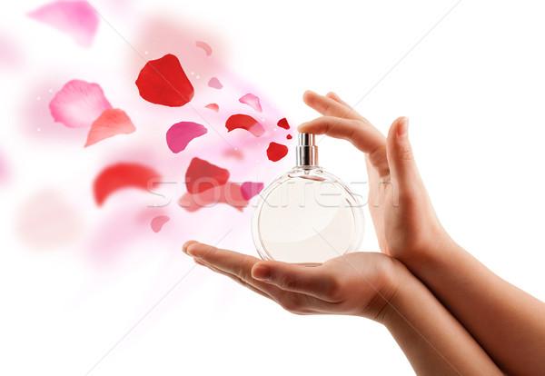 Vrouw handen rozenblaadjes mooie parfum Stockfoto © ra2studio