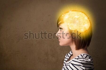 Stockfoto: Jong · meisje · denken · hersenen · illustratie