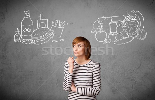 Kobieta stałego zdrowych niezdrowy dość Zdjęcia stock © ra2studio