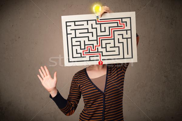 Vrouw papier labyrint jonge vrouw meisje Stockfoto © ra2studio