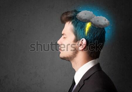 Człowiek burza z piorunami pioruna głowie niebo grupy Zdjęcia stock © ra2studio