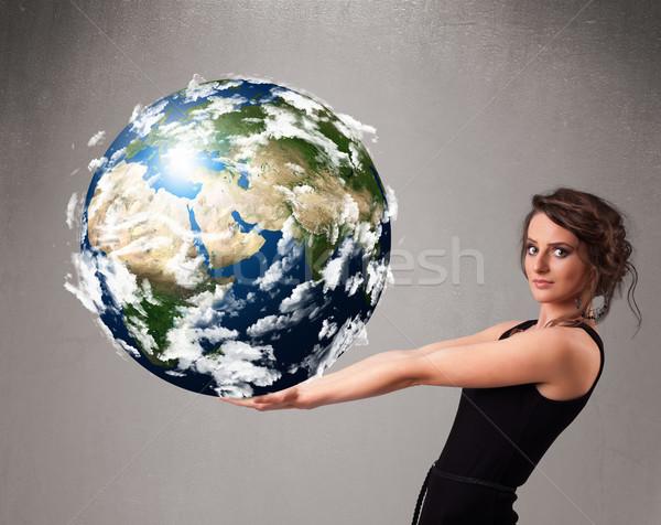 Joli fille 3D planète terre jeune fille Photo stock © ra2studio
