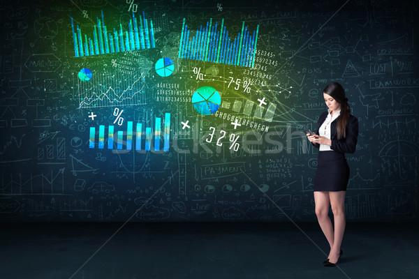 Zakenvrouw kantoor tablet hand hoog tech Stockfoto © ra2studio