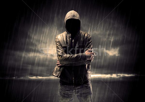 Anonimowy terrorysta noc złodziej nie do poznania stałego Zdjęcia stock © ra2studio