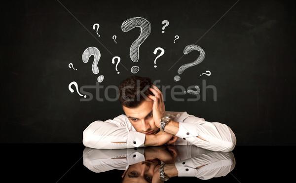 сидят бизнесмен депрессия фон молодые Сток-фото © ra2studio