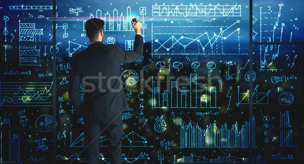çizim işadamı istatistik iş cam duvar Stok fotoğraf © ra2studio