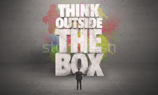 Empresário criador conselho parede colorido ilustrado Foto stock © ra2studio
